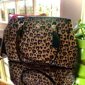 Coach satchel leopard ocelot cheetah print EUC 😱